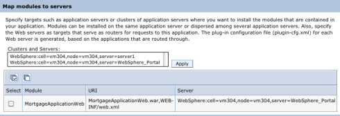 Map modules to servers page, where Server has been changed to WebSphere_Portal from server1