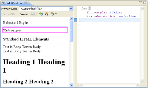 Two panes, on the left result examples are shown, including the currently selected=