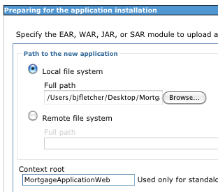 "The ""local file system"" has been navigated to the WAR file and the Context Root field is set to MortgageApplicationWeb"